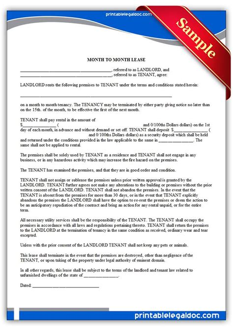 Letter Of Intent Expiration Date Printable Sle Month To Month Lease Form Printable Sle Forms Month To