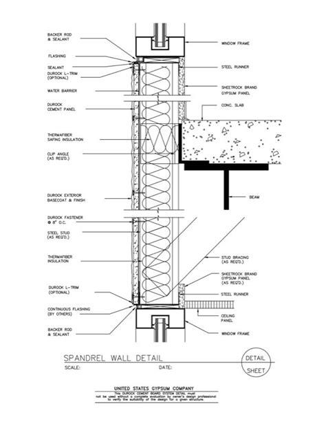Light Metal Framing Wall Section by Usg Design Studio 09 21 16 03 261 Durock Spandrel Wall