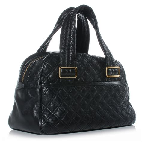 Marc Quilted Goatskin Bowler by Marc Leather Quilted Ursula Bowler Black 41743