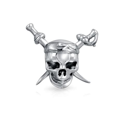 pirate skull crossbones bead fits pandora charms sterling