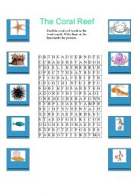Coral Reef Worksheets For by Worksheets The Coral Reef Word Search