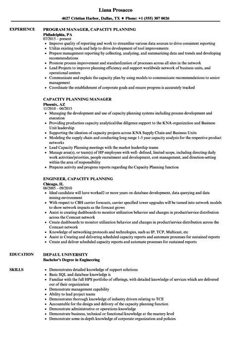 Capacity Planning Resume Samples   Velvet Jobs