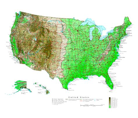 maps of the united states with cities large detailed elevation map of the united states with