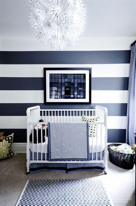 Bf Stripped Light Blue modern navy blue striped nursery home inspiration
