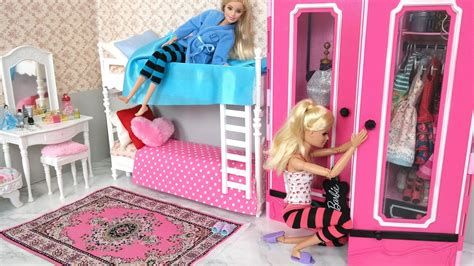 barbie bedroom barbie bedroom bunk bed morning routine دمية باربي غرفة