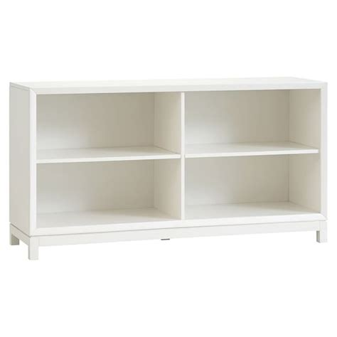 White Bookcase With Baskets Rowan Low Bookcase Pbteen