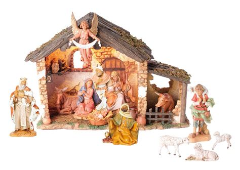 fontanini 5 inch scale 13 piece lighted nativity set out