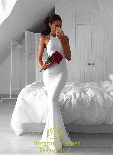 simple white halter top mermaid open  floor length