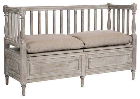 bedroom bench with back damita french country weathered gray high back storage