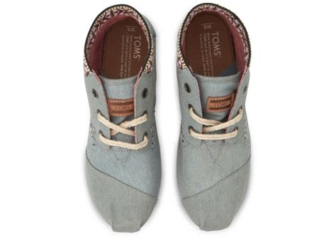 toms chambray trim womens tribal boots in blue lyst