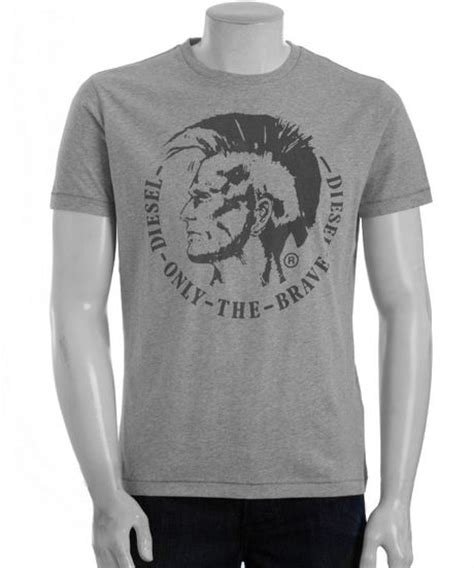 T Shirt Brave Diesel Fth diesel grey cotton only the brave tshirt in gray