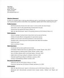dancer resume template dancer resume template 6 free word pdf documents