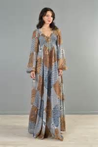 Patchwork 1970s ethnic gauze maxi dress with birds bustown modern