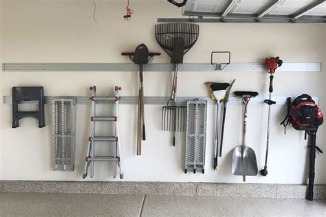 custom garage workbench emntryway storage  wall track