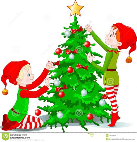 elves decorate a christmas tree stock vector image 12120009