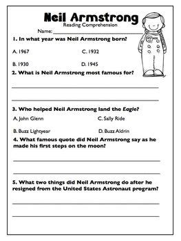 biography neil armstrong english neil armstrong freebie biography article reading
