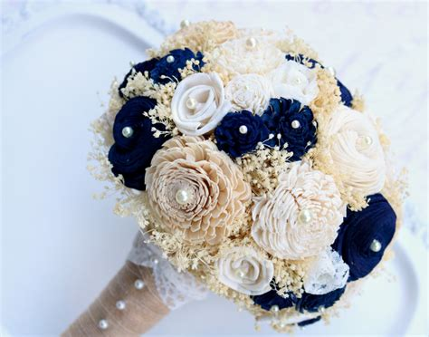 Wedding Bouquet Navy Blue by Gold Navy Bridal Bouquet Gold Bouquet Wedding Bouquet