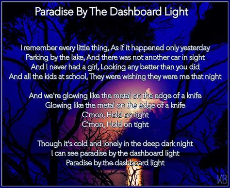 Paradise By The Dashboard Light Lyrics 17 best images about lyrical quotes my favourites on