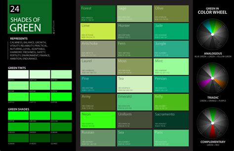 green color shades 24 shades of green color palette graf1x