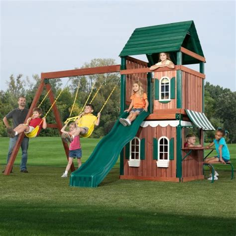 childrens wooden swing and slide sets kids outdoor playhouse and swing set 2017 2018 best