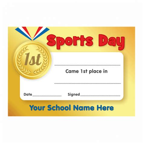 sports day gold 1st place certificates school stickers