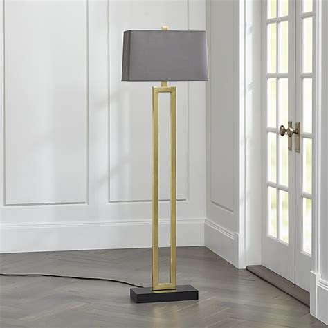 duncan brass floor l with grey shade crate and barrel
