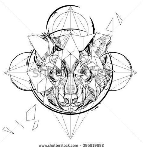 geometric wolf coloring pages animal head triangular icon geometric trendy line design