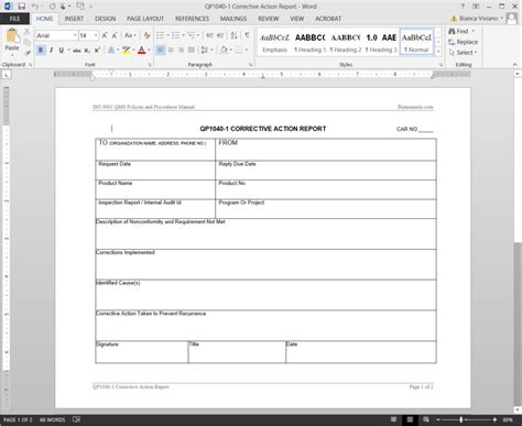 corrective report template form corrective report iso template
