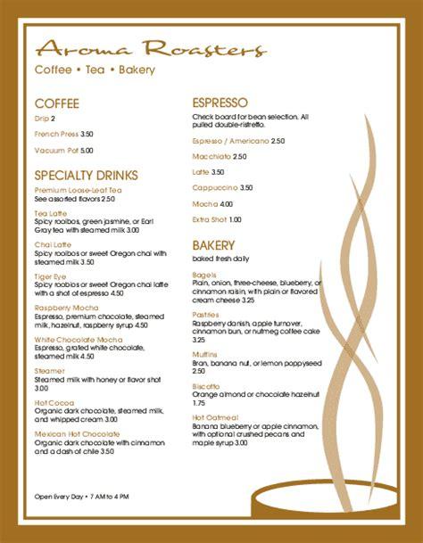 Espresso Coffee Menu Letter Coffee House Menus Coffee House Menu Template