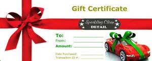 Christmas Gift Certificate Template - online gift store sparkling clean car wash
