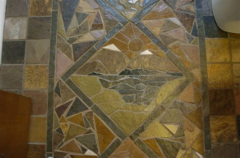 hand crafted slate mosaic floor by vandorn turpen