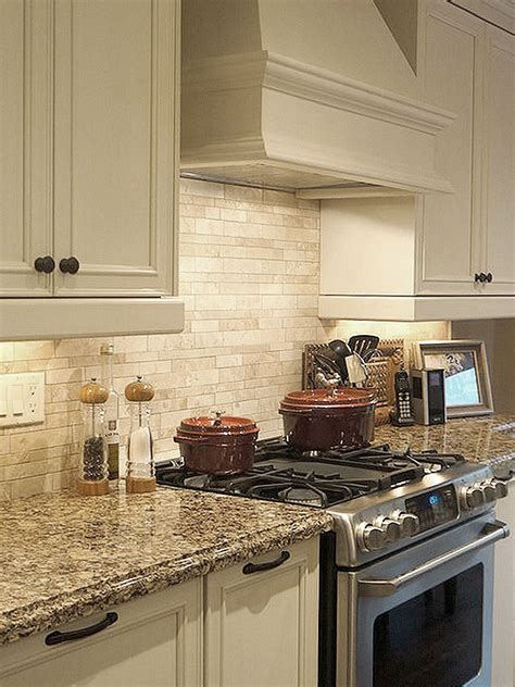 Pictures Of Backsplashes In Kitchen by Light Ivory Travertine Kitchen Subway Backsplash Tile