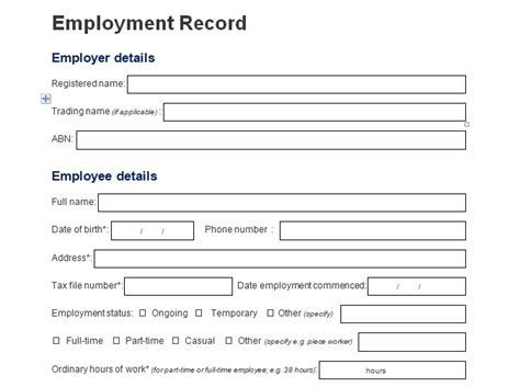 employee information template record of employee information form format word and excel