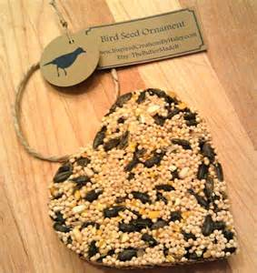 bird seed heart shaped ornament favor customizable tags