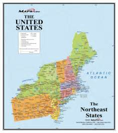 northeastern us map northeast usa wall map maps