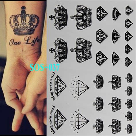 black diamonds crowns temporary tattoo body art tattoo