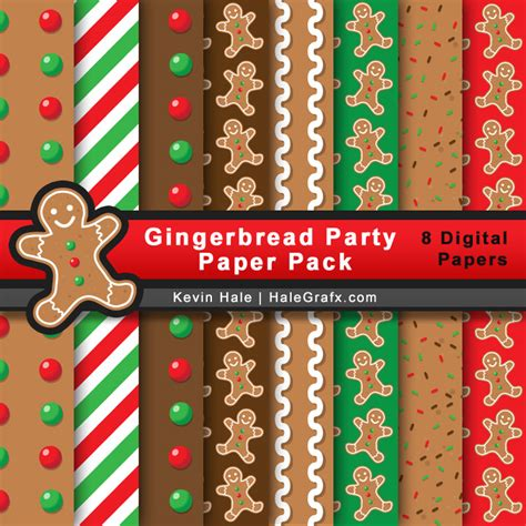 printable paper pack free christmas gingerbread party digital paper pack