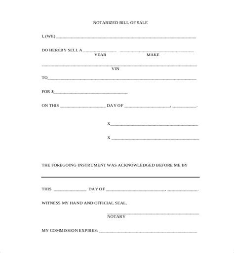 sle of notary free blank bill of sale form