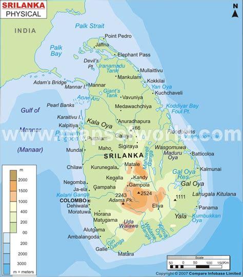 Sri Lanka Physical Map   Physical Map of Sri Lanka