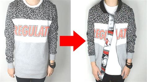 diy sweater diy sweater to bomber styled sweater kad customs 40