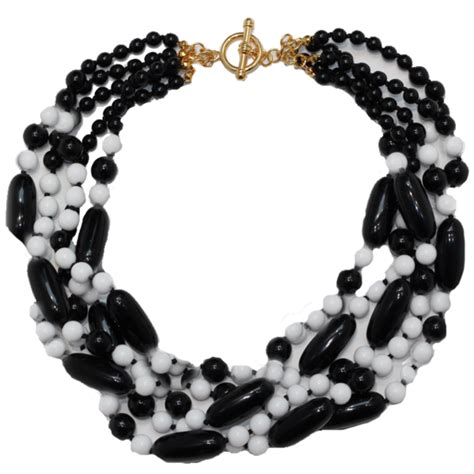 Black White Bead Necklace Gale Grant