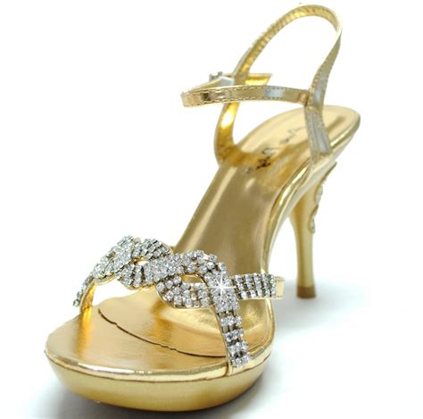 gold shoes stilettos rhinestone evening prom wedding
