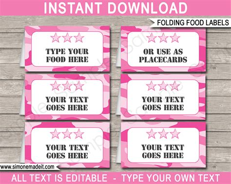 free template food cards pink camo food labels place cards army theme
