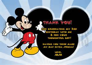 personalized mickey mouse birthday thank you card digital file you print greeting cards