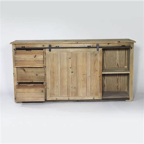 Buffet industriel porte coulissante 6 tiroirs bois   Made
