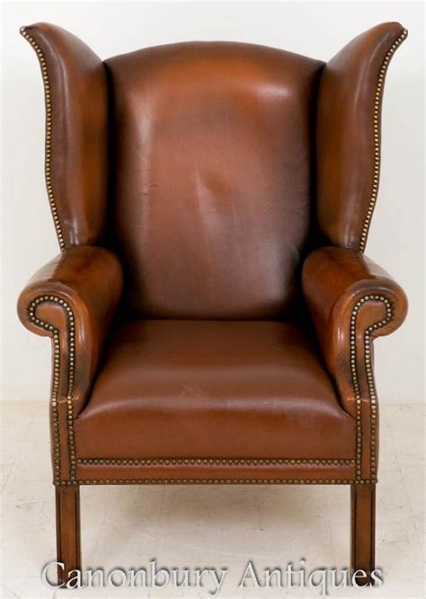 pair of leather wingback chairs pair georgian leather wingback arm chairs