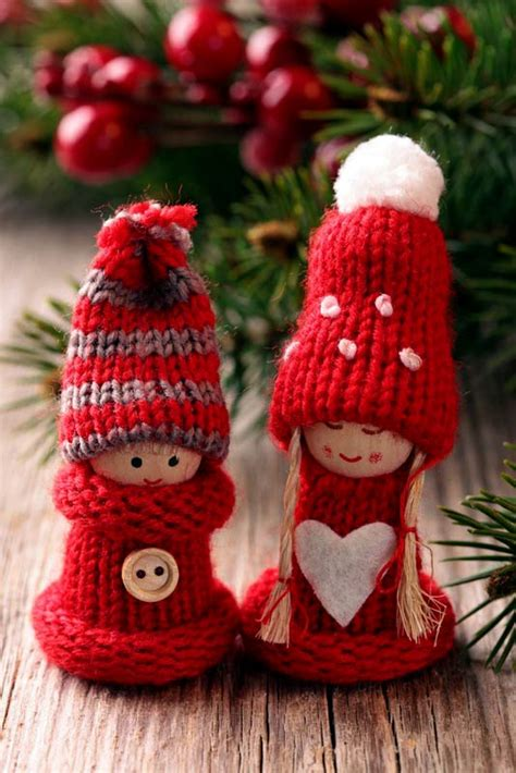 christmas decor knitted christmas ornaments ideas for