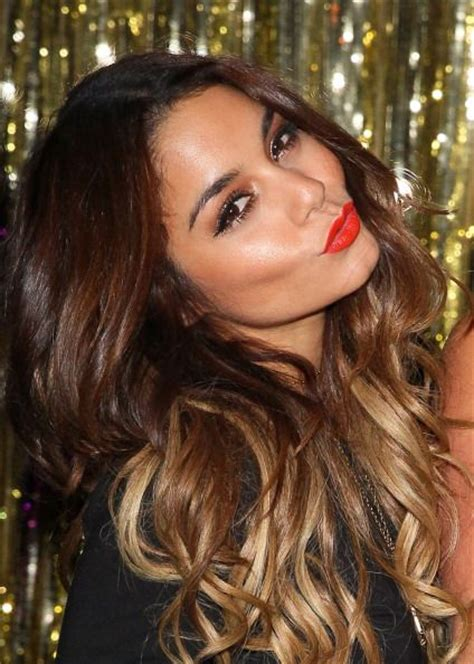 vanessa hudgens ombre hair vanessa hudgens gorgeous makeup red lips neutral eyes