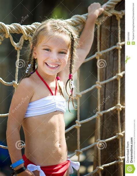 Little Girl At Aquapark Stock Photo Image Of Aquatic