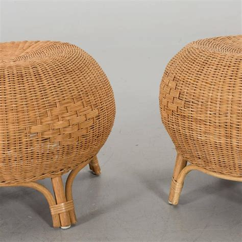 Wicker Stools For Sale by Scandinavian Pair Of Rattan And Bamboo Stools For Sale At 1stdibs